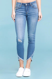 "JUDY BLUE ""YOU CAN'T MAKE ME"" TULIP FRONT HEM SKINNY LIGHT WASH JEAN [8838]"