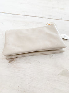 BEIGE 3 ZIP WALLET/CLUTCH