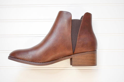 CITY CLASSIFIED- BROWN LEATHER ANKLE BOOT