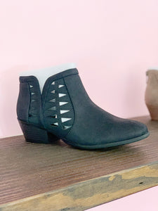SODA- BLACK WEDGE BOOTIES WITH SIDE CUTOUT DETAIL