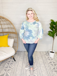 DENIM & SAGE TIE DYE TIERED BALLOON LONG SLEEVE