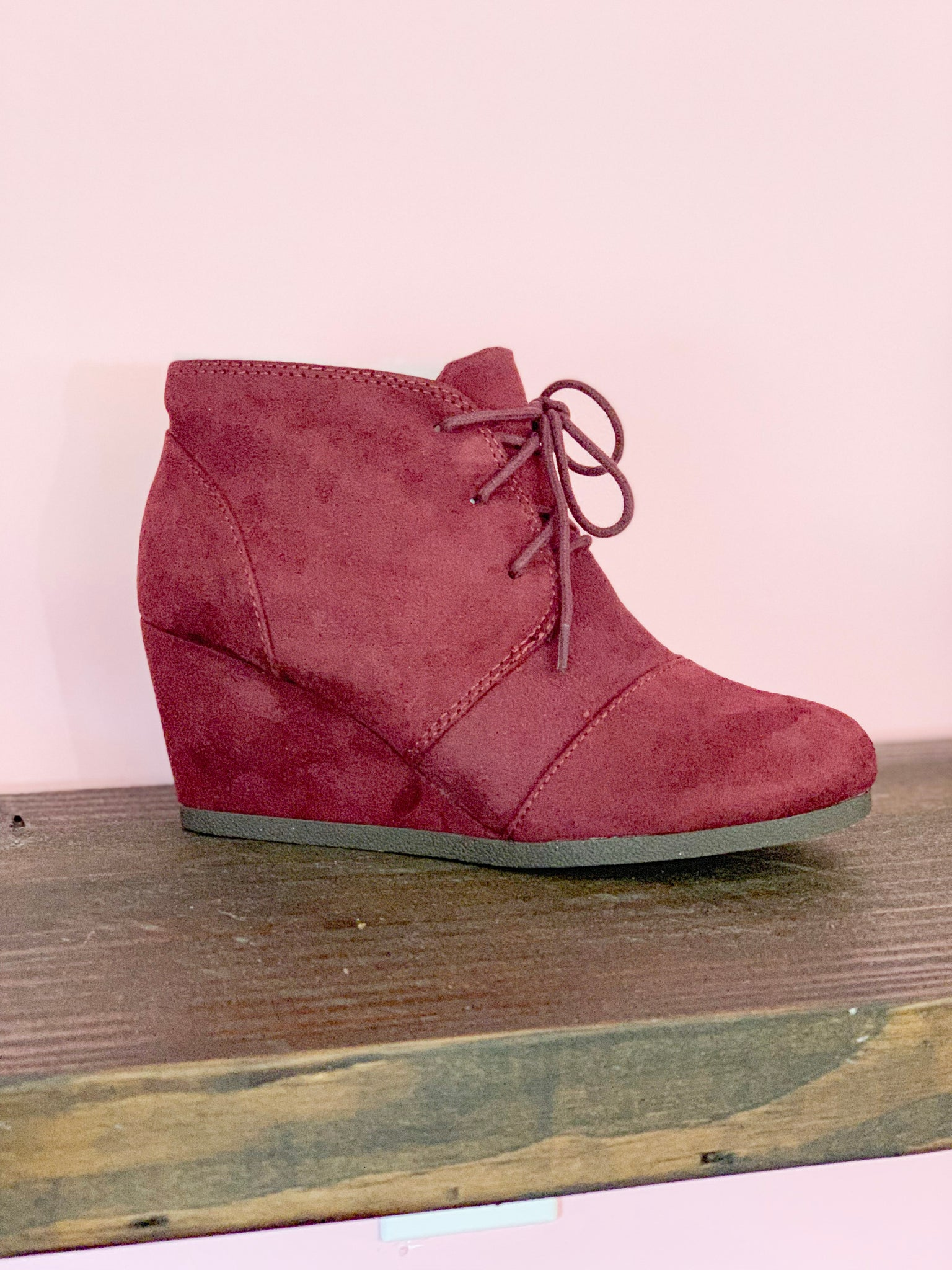 CITY CLASSIFIED- BURGUNDY WEDGE BOOTIES