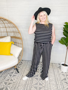 BLACK & WHITE STRIPE SLEEVELESS JUMPSUIT WITH POCKETS [3191]