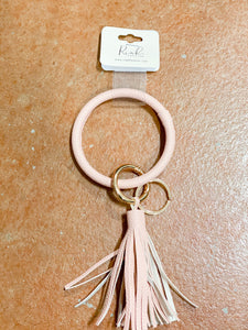 LIGHT PINK LEATHER KEY RING