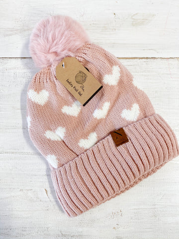 LIGHT PINK HEART BEANIE WITH POM