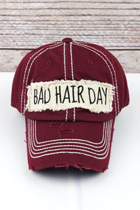 BURGUNDY BAD HAIR DAY HAT