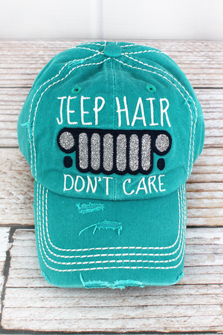 LIGHT BLUE JEEP HAIR DON'T CARE HAT