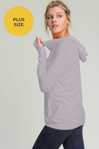 MAUVE SLEEK WORKOUT HOODIE WITH THUMB HOLES