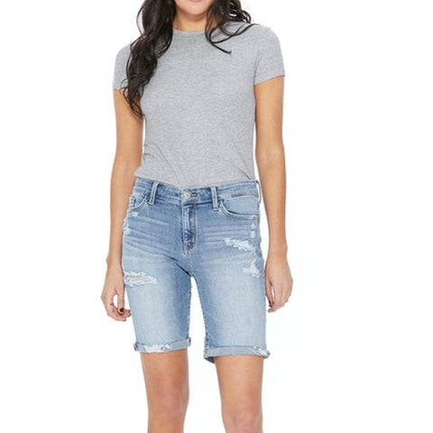 JUDY BLUE DESTROYED BERMUDA SHORTS [JB182129PL]