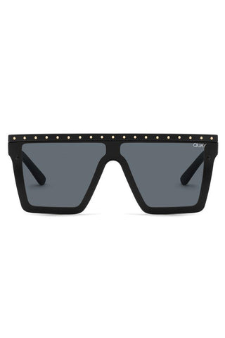 QUAY - MATTE BLACK WITH STUDS HINDSIGHT SUNGLASSES [37365]