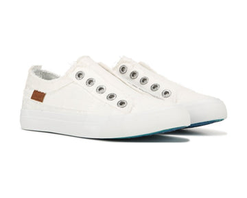 BLOWFISH WHITE CANVAS SLIP ON SNEAKERS
