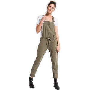 OLIVE CUFFED OVERALLS WITH POCKETS