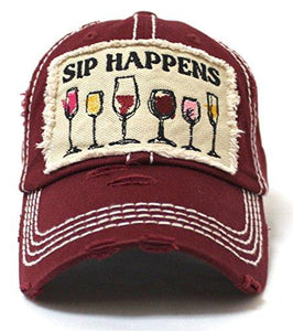 BURGUNDY SIPS HAPPEN HAT