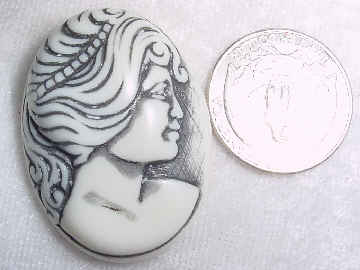 #319c - 40x30mm Molded Cameo, Charcoal