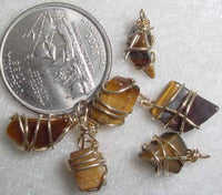 #370 - Wire Wrapped Vintage Tiger Eye Pendant, 2 Pieces
