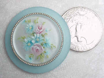 #148b - 35mm German Floral Cabochon Blue