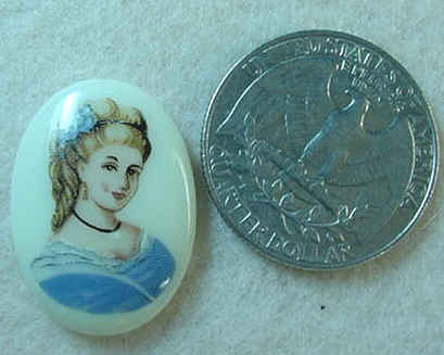 #271 - 25x18mm Glass Lady Limoge