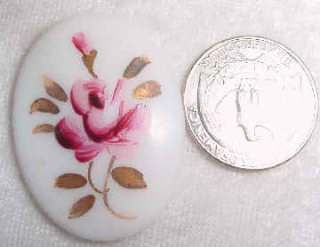 #284 - 40x30mm Vintage Rose Glass Oval