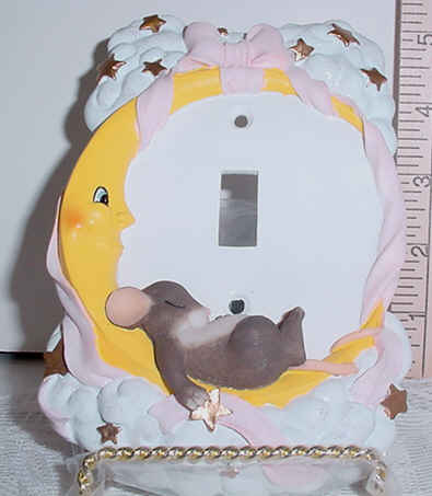Moon and Stars Pink Switch Plate