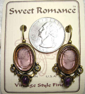 Etched Cameo Amethyst Earrings