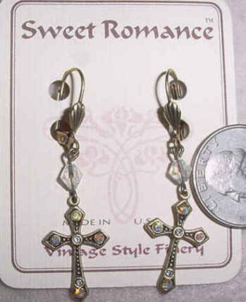 Jeweled Cross Earrings - Bronze