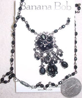 Jet Hematite Cluster Necklace