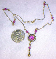 Dainty Bib Fuchsia Necklace