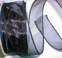 "Black Organza Wired Ribbon 1-3/8"" - 25 yds"