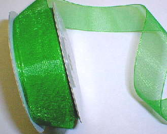 "Emerald Green Organza 7/8"" Ribbon 25 yds"