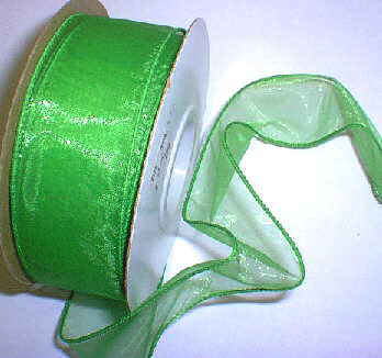 "Emerald Organza Wired Ribbon 1-3/8"" - 25 yds"