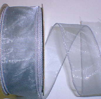 "Silver Gray Organza Wired Ribbon 1-3/8"" -25yds"