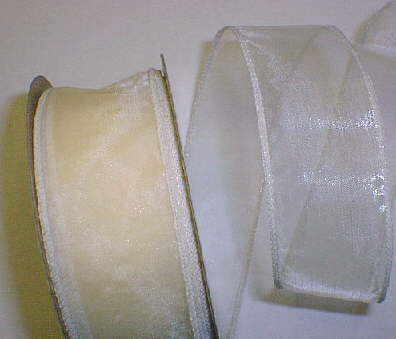 "Ivory Organza Wired Ribbon 1-3/8"" - 25 yds"