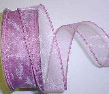 "Mauve Organza Wired Ribbon 1-3/8"" - 25 yds"