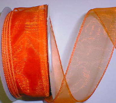 "Orange Organza Wired Ribbon 1-3/8"" - 25 yds"