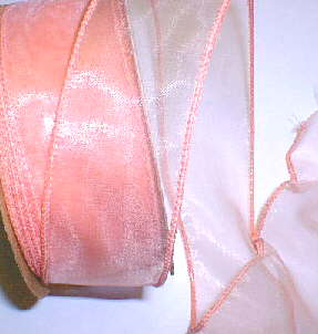"Peach Organza Wired Ribbon 1-3/8"" - 25 yds"