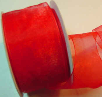 "Red Organza 1-1/2"" Ribbon 25 yds"