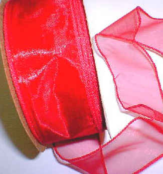 Red Organza Wired Ribbon Crafts - 25 yds