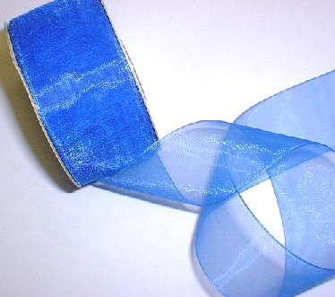 "Royal Blue Organza 1-1/2"" Ribbon 25 yds"