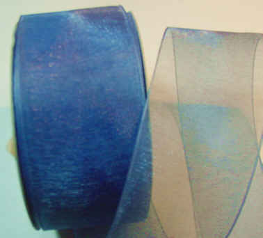 "Smoke Blue Organza 1-1/2"" Ribbon 25 yds"