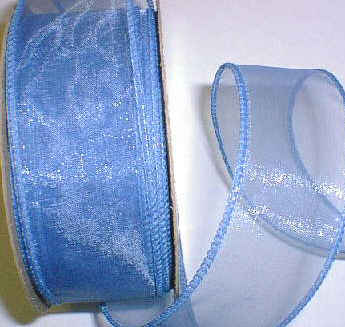"Smoke Blue Organza Wired Ribbon 1-3/8"" -25 yds"