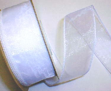 "White Organza Wired Ribbon 1-3/8"" - 25 yds"