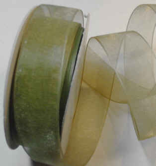 "Willow Green Organza 7/8"" Ribbon 25 yds"