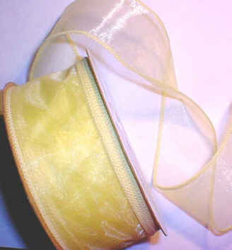 "Yellow Organza Wired Ribbon 1-3/8"" - 25 yds"
