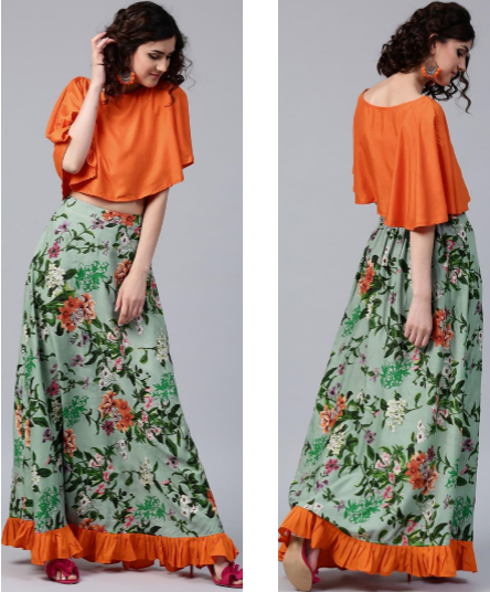 a10101ec0 Green Floral Maxi Skirt with Orange Butterfly Top – Abini Int'l Pte. Ltd.