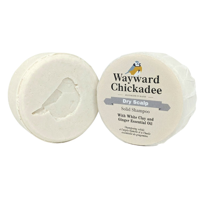 Dry Scalp Solid Shampoo with White Clay and Ginger Essential Oil - Wayward Chickadee, handcrafted in Maine