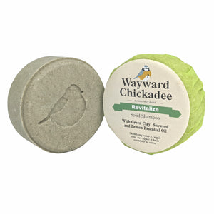 NEW | Revitalizing Solid Shampoo with Green Clay, Seaweed and Lemon Essential Oil - Wayward Chickadee, handcrafted in Maine