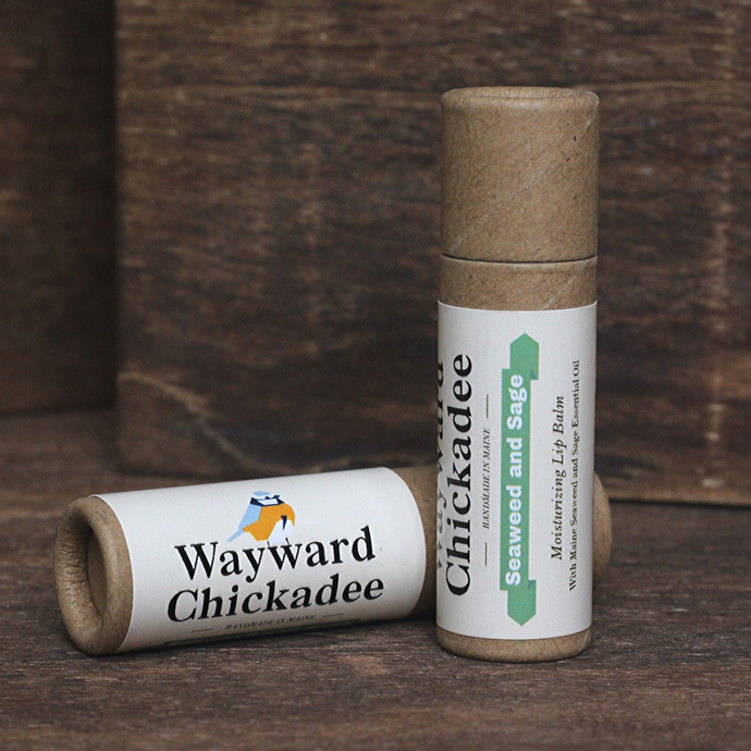 Wholesale Seaweed and Sage Lip Balm (Retail $4.50) - Wayward Chickadee, handcrafted in Maine