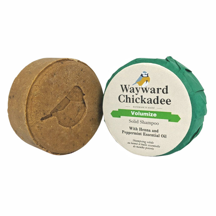 Volumizing Solid Shampoo with Henna and Peppermint - Wayward Chickadee, handcrafted in Maine