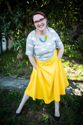 bright bright yellow a-line skirt
