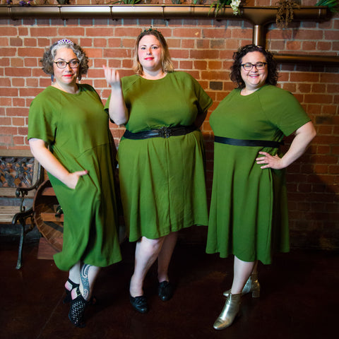 three babes in green dresses